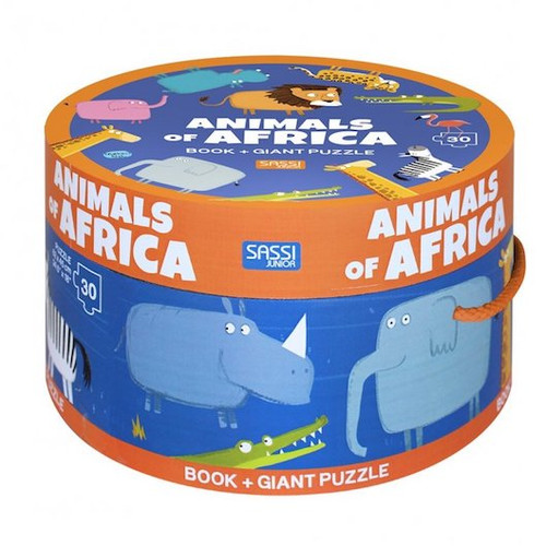 Sassi - Under the burning sun of Africa live the most wonderful animals of the savanna. Assemble the puzzle and discover a bathing elephant, a giraffe nibbling the leaves of tall trees, and a hippopotamus playing in a pond. Then find all your favourite characters in the small 10-page book.