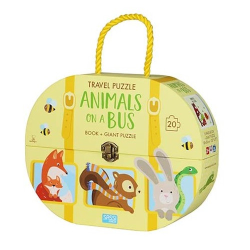 Sassi Puzzle - A bus is filled with animals heading towards the mountains. Read the rhyming story and assemble the puzzle. Pack it all in a case and take it everywhere with you!