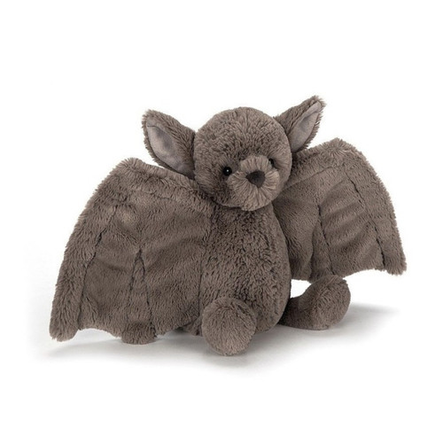 Arch and bear brings you jellycats Bashful Bat. He  loves to swoop and flutter, with wonderful wings in soft mushroom fur. This fancy bat gives excellent hugs, and wraps up pals in a fuzzy embrace.