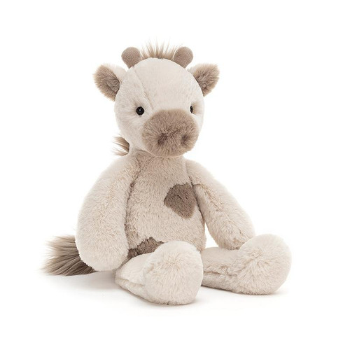 Billie Giraffe is fluffy and flumpity, loping and lazing in beigey-cream softness. With a mocha muzzle and matching splodges, suedey wee horns and a tufty toffee mane, Billie loves nuzzles and naptimes.