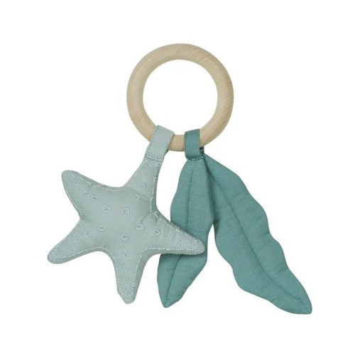 100% Organic Cotton with natural wood ring rattle by cam cam copenhagen in an ocean theme
