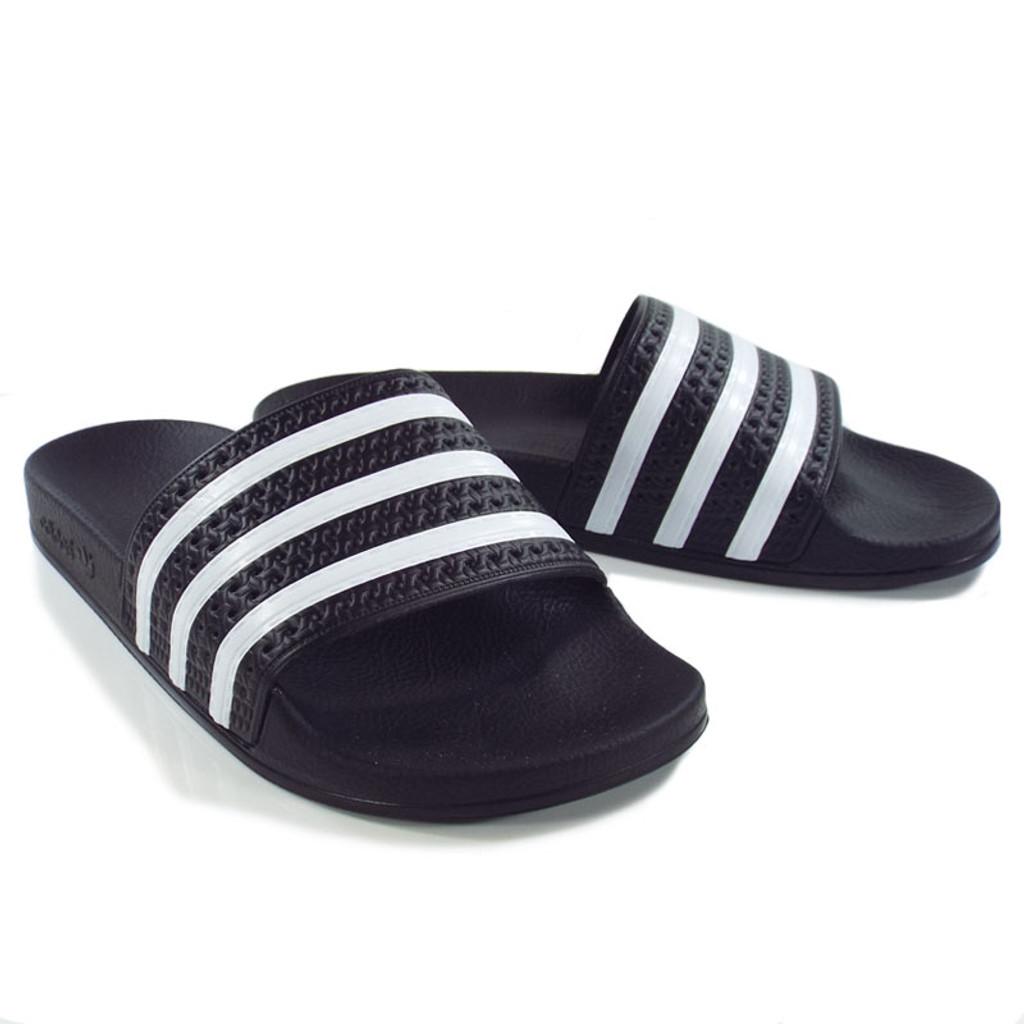 dea3861e252 Adidas Originals Adilette Slides - Black White - Detroit City ...