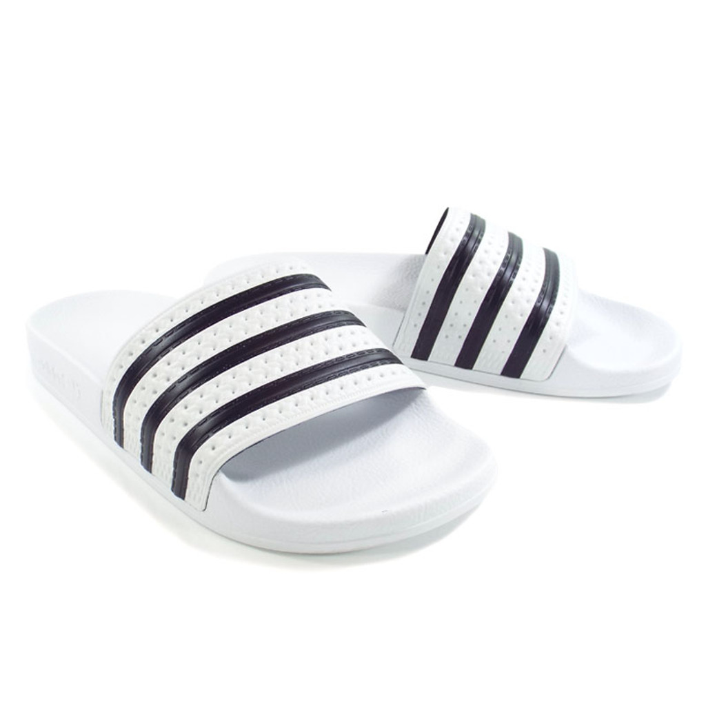 d18b39847c4 Adidas Originals Adilette Slides - White Black - Detroit City ...