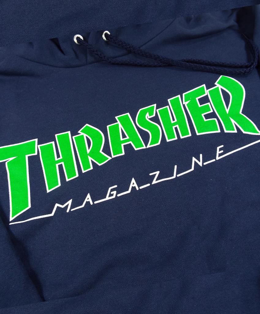 Thrasher Outlined Hooded Sweatshirt - Navy