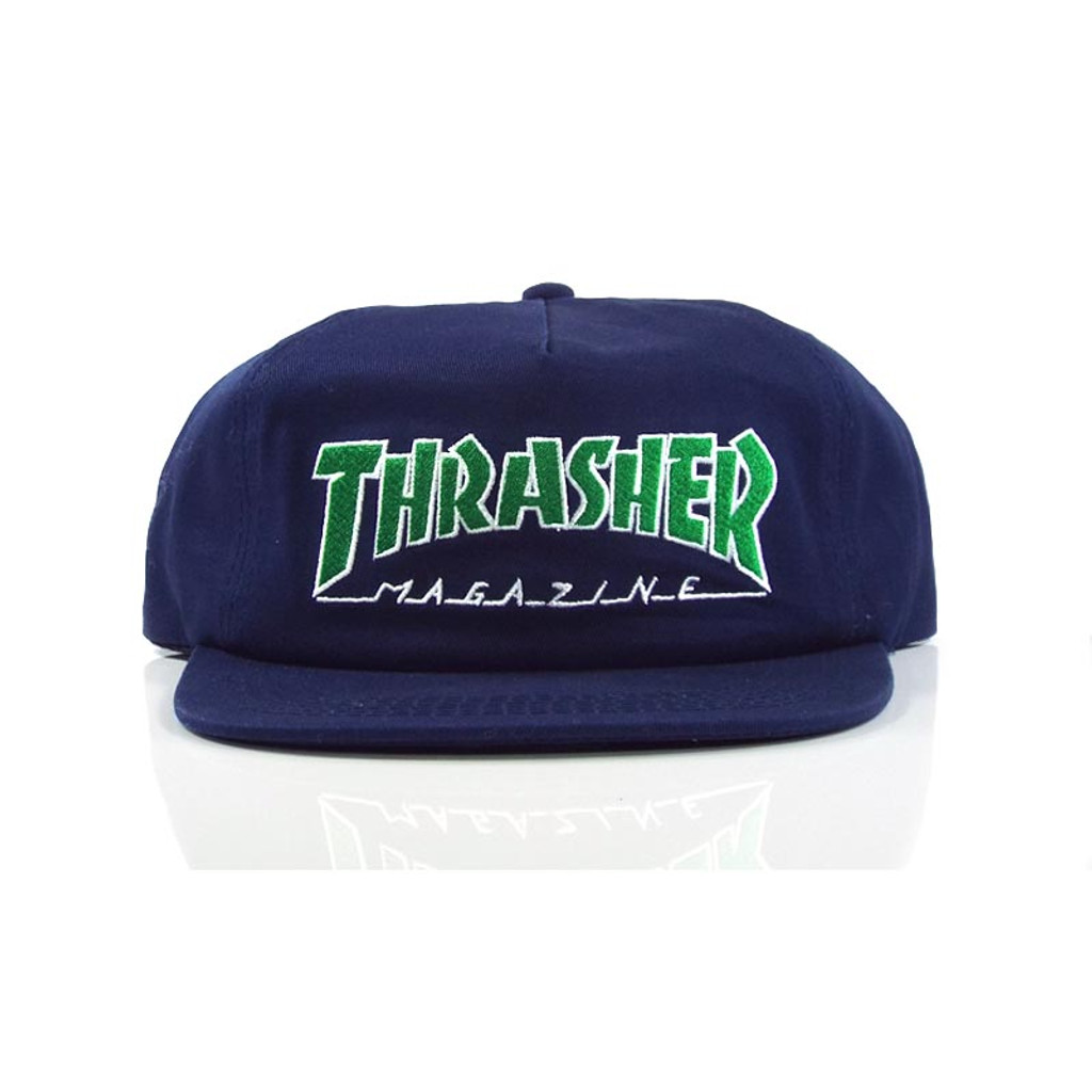 Thrasher Outlined Snapback Hat - Navy