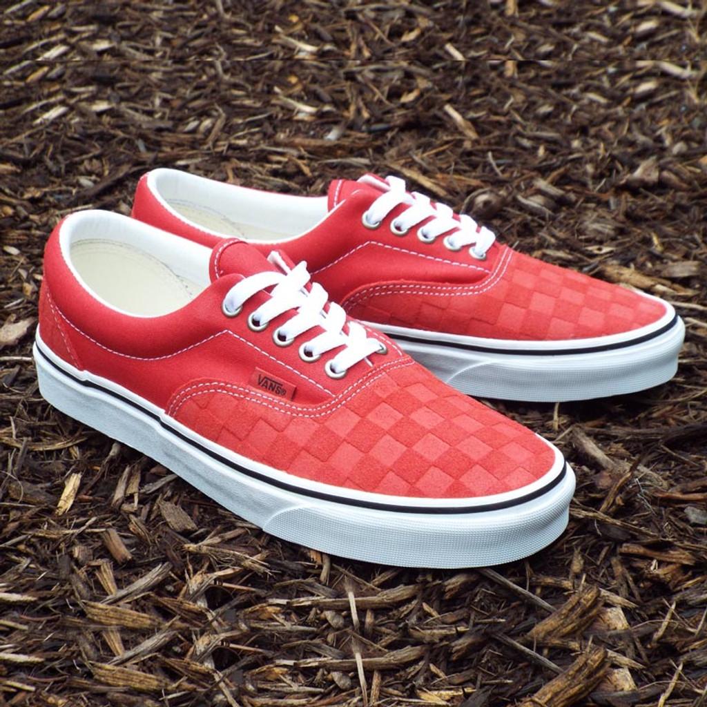 Vans Era Skate Shoes - Deboss Pomp Red Checkerboard