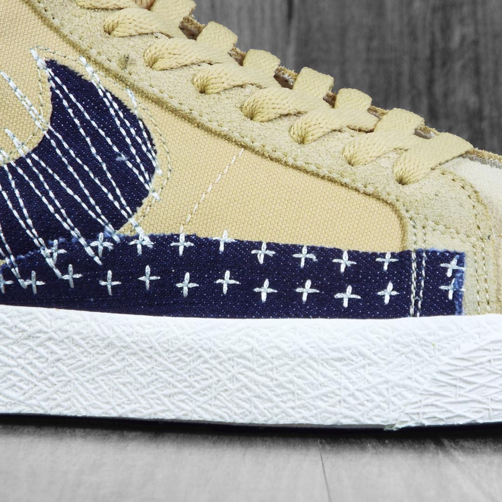 Nike SB Zoom Blazer Sashiko Mid Premium Shoes - Sesame/Mystic Navy-Sail-Gum Light Brown