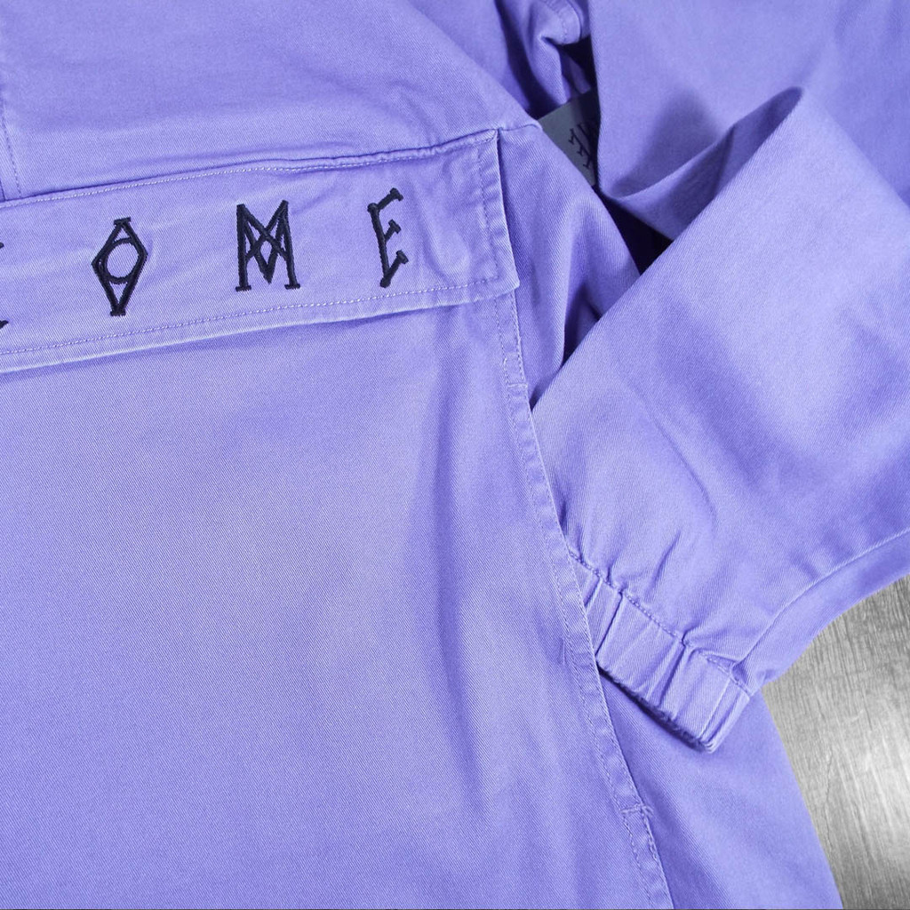 Welcome Scrawl Garment-Dyed Twill Anorak Jacket - Purple
