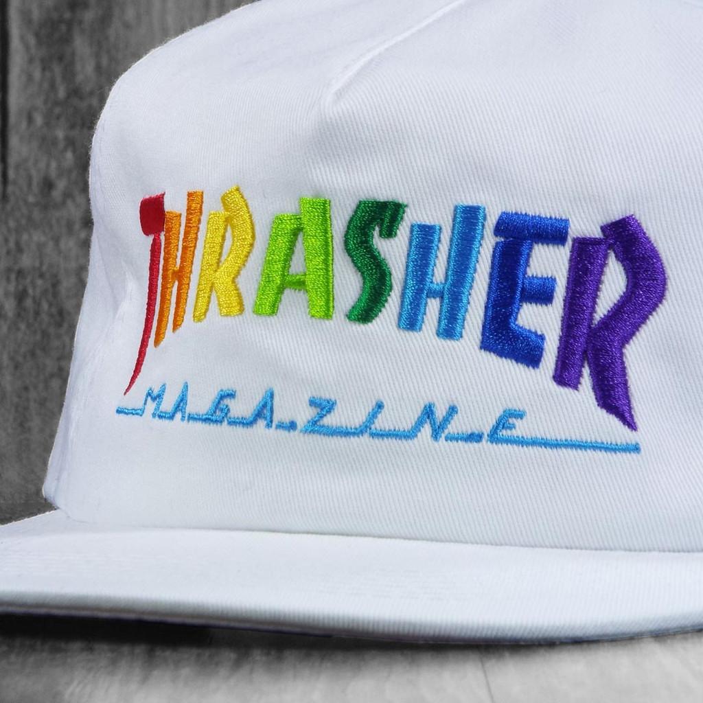 Thrasher Rainbow Mag Snapback Hat -  White