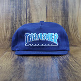 Thrasher Outlined Snapback Hat - Navy Blue