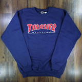 Thrasher Outlined Crewneck Sweater - Navy/Red