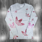 Adidas Zen Longsleeve T-Shirt - Medium Grey Heather/Scarlet