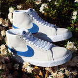 Nike SB Zoom Blazer Mid Shoes - White/Team Royal-White-Cerulean