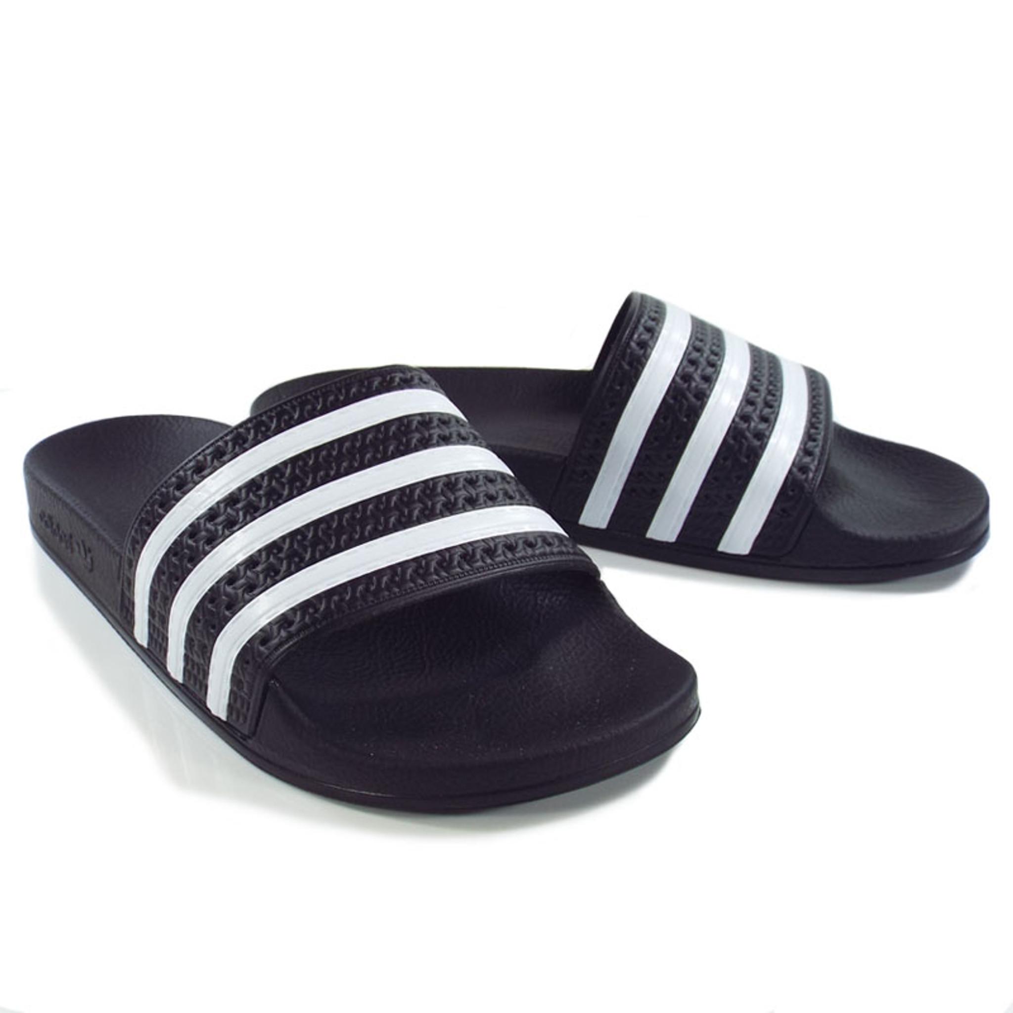 3d59c4c48696 Adidas Originals Adilette Slides - Black White - Detroit City ...