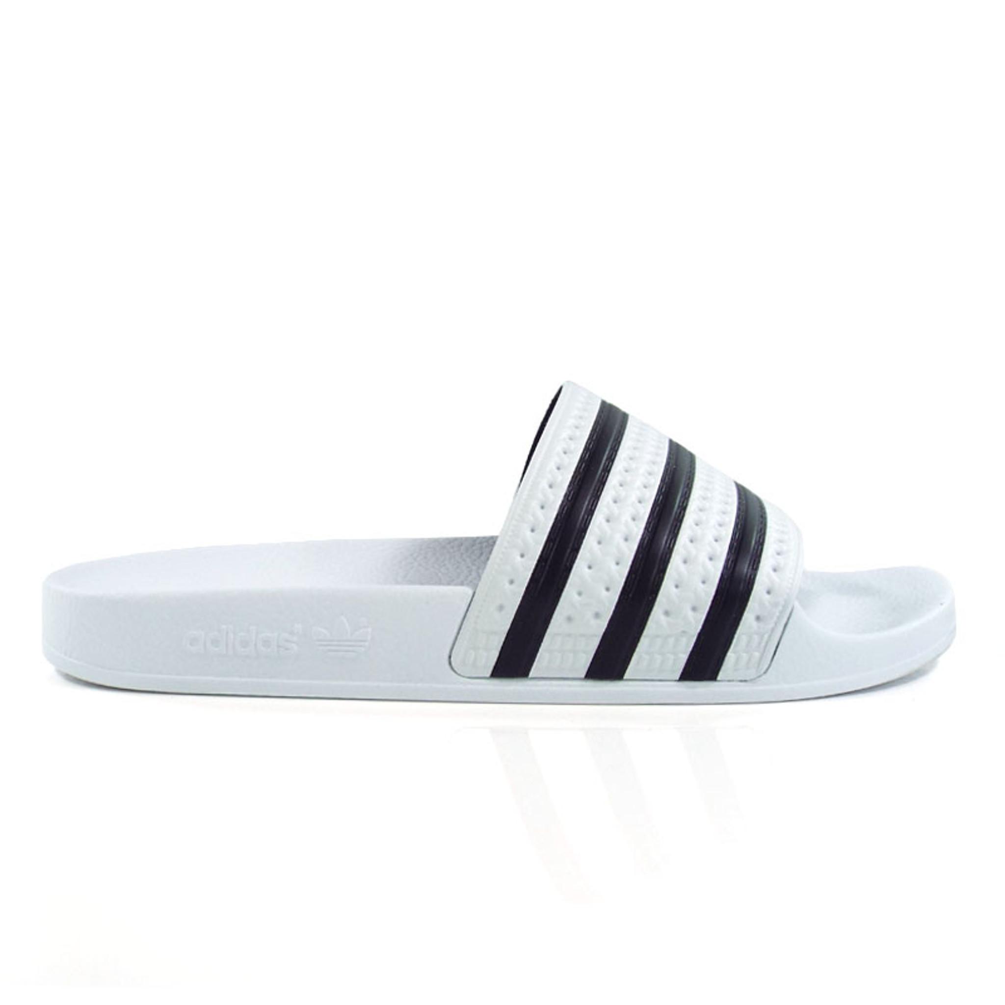 3ddf0fd282f Adidas Originals Adilette Slides - White Black - Detroit City ...