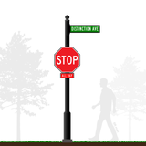 Aluminum Combination Stop Sign and Street Sign - Square Post with Base