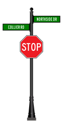 Aluminum Combination Stop Sign and Street Sign - Fluted Pole with Base