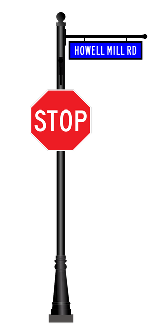 Aluminum Combination Stop and Street Sign - Fluted Base