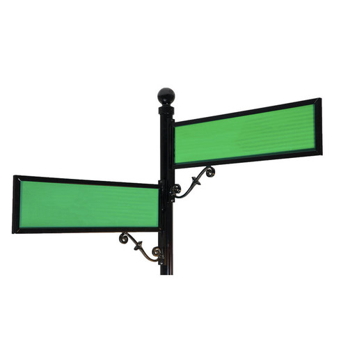 """Aluminum Scroll Sign Frame 9"""" by 36"""" with Green Blades"""