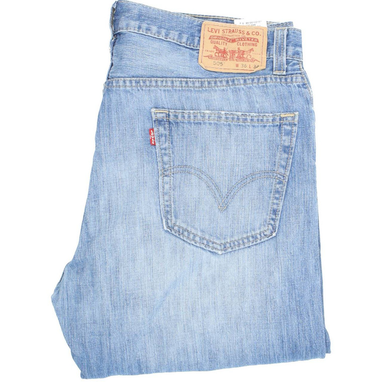 Levi's 505 Straight Regular W36 L34 Jeans in Good used condition with little wear to the hems, please note the jeans are lighter denim. Fast & Free UK Delivery. Buy with confidence from Fabb Fashion. image 1