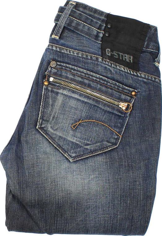 G-Star Womens Blue Straight Stretch Jeans W28 L30 image 1