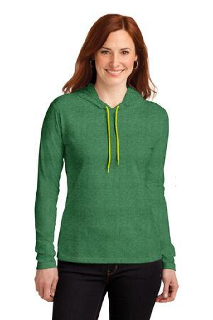 Ladies 100% Combed Ring Spun Cotton Long Sleeve Hooded T-Shirt