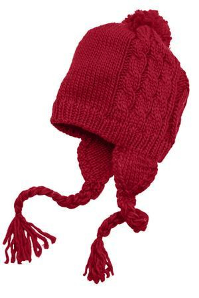Cabled Beanie with Pom