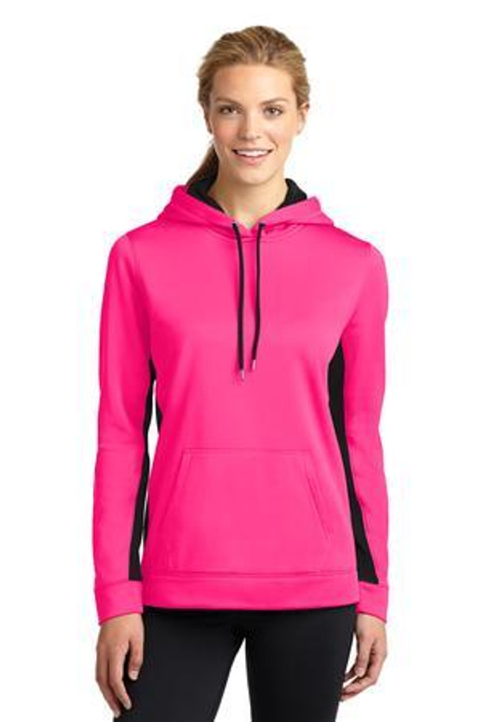 Ladies Sport-Wick Fleece Colorblock Hooded Pullover