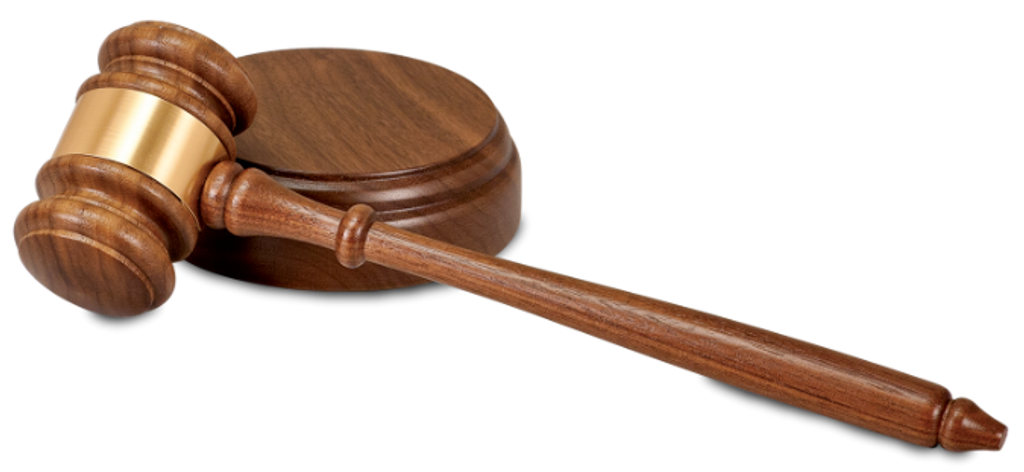 Walnut Gavel with Brass Band & Sounding Block