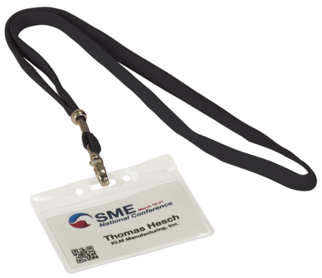 Clear Plastic Badge Holder with 36 Long Black Lanyard