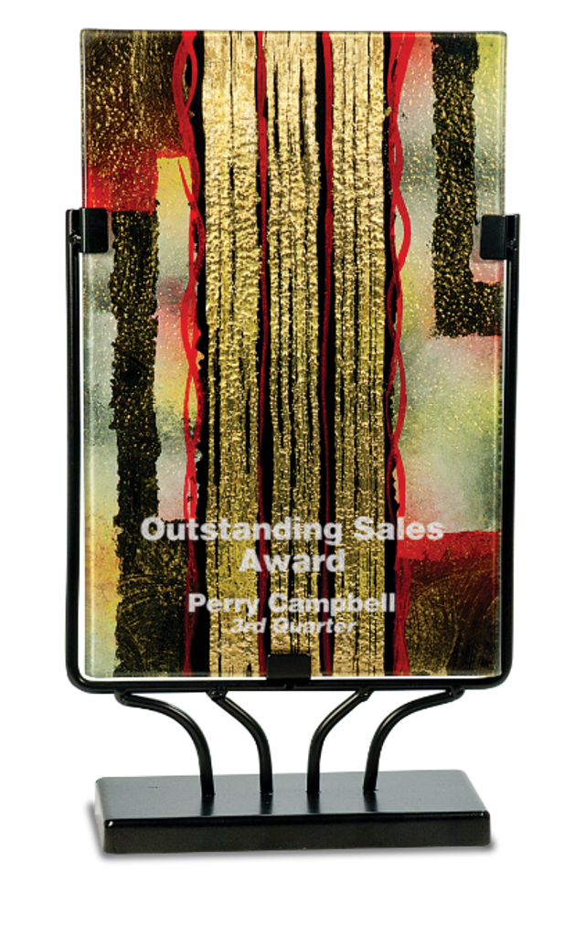 Rectangular Art Glass with Metal Base