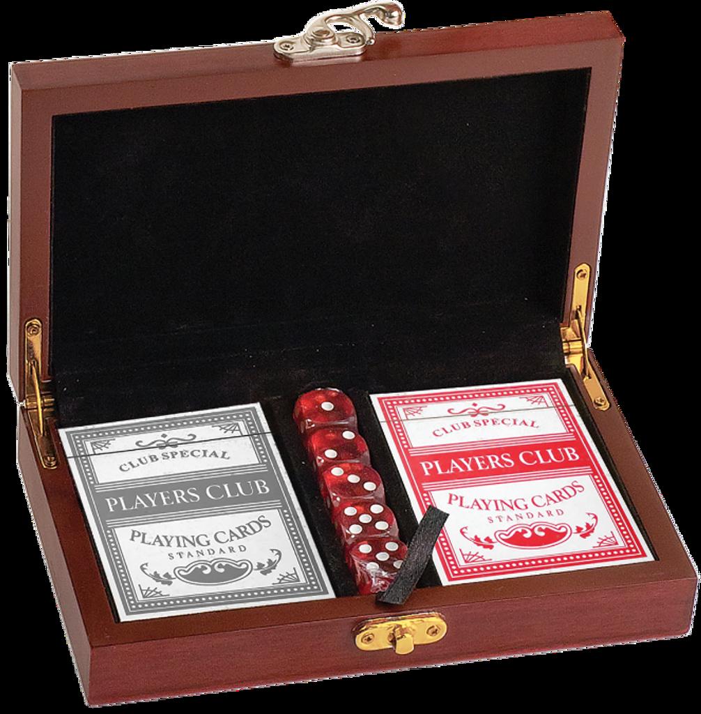 Rosewood Finish Card & Dice Gift Set