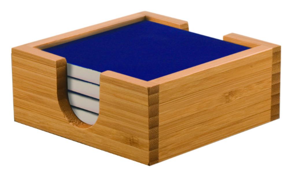 Bamboo Coaster Holder with Blue Ceramic Coasters