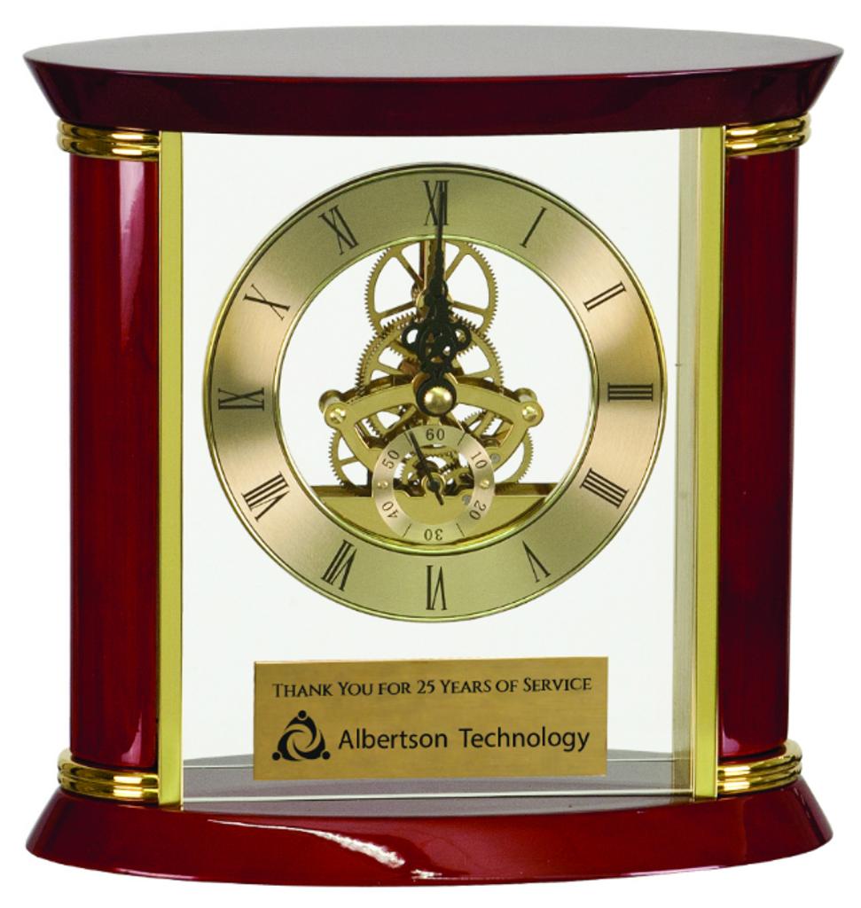 Executive Gold & Rosewood Piano Finish Clock