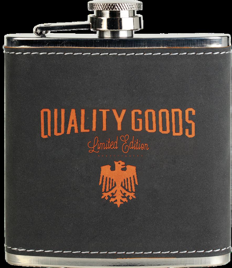Dark Gray/Orange Textured Stainless Steel Flask