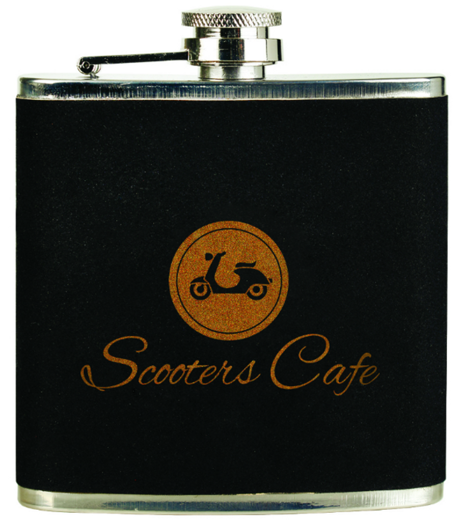Black Velvet/Gold Stainless Steel Flask