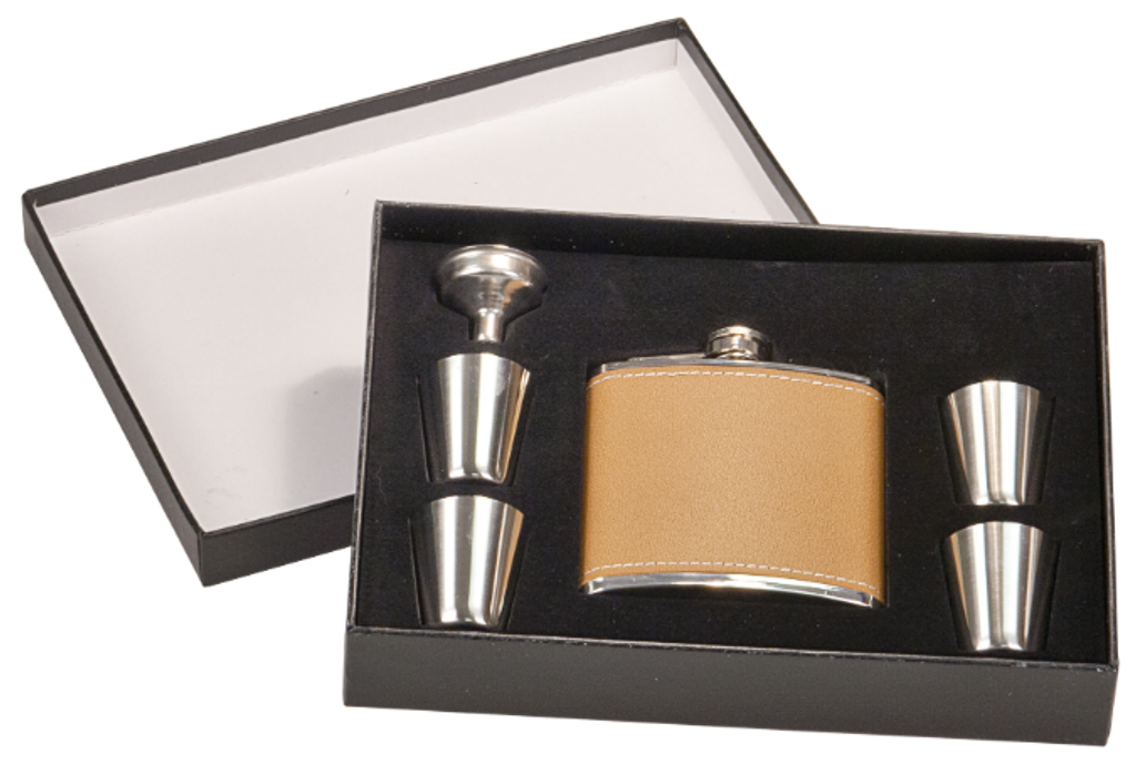 Leather Flask Set in Black Presentation Box w/4 Shot Glasses & Funnel