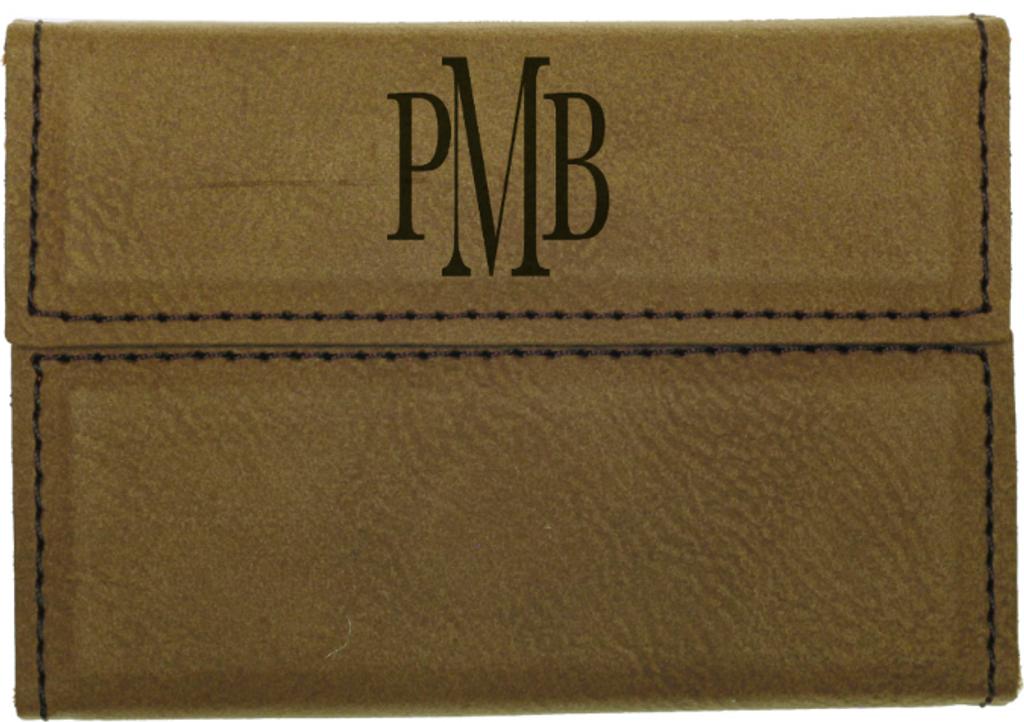 Dark Brown Leatherette Hard Business Card Holder