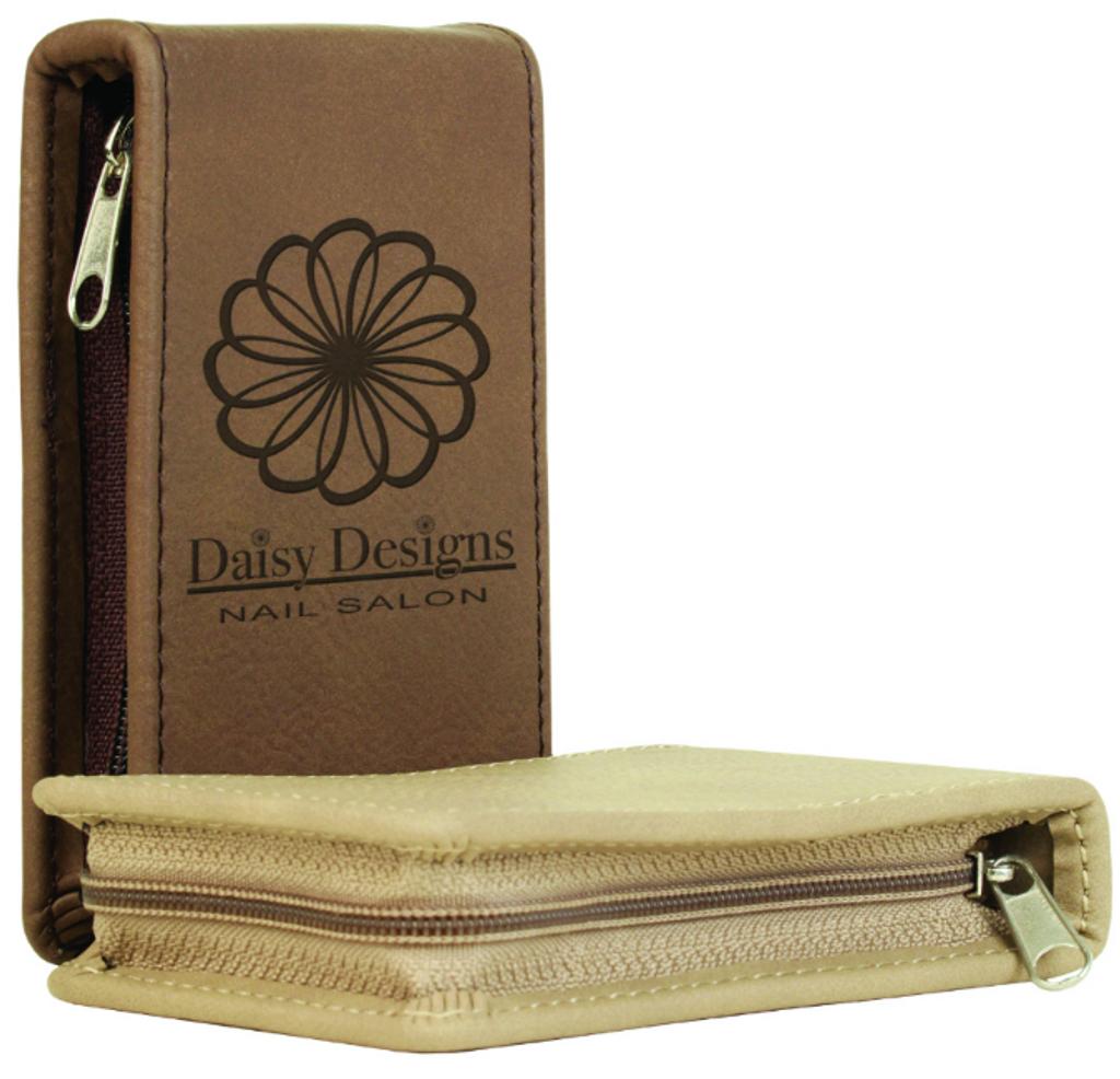 Piece Dark Brown Leatherette Manicure Gift Set