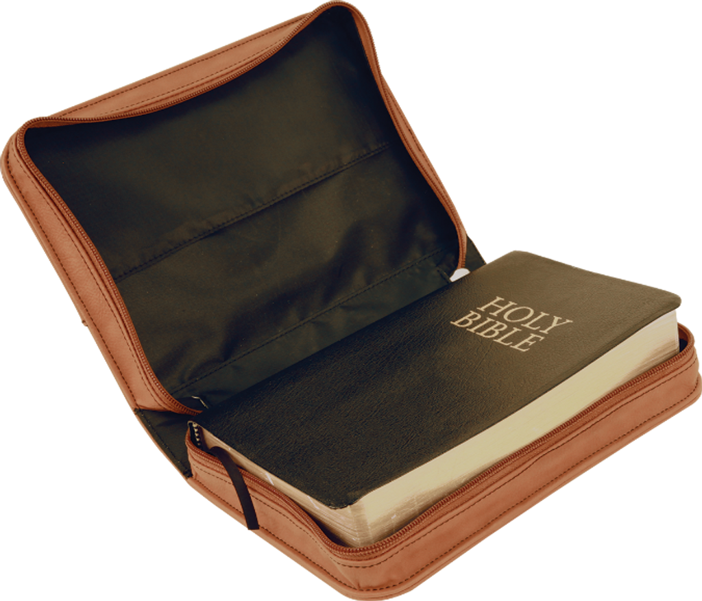 Rawhide Leatherette Book/Bible Cover with Zipper & Handle