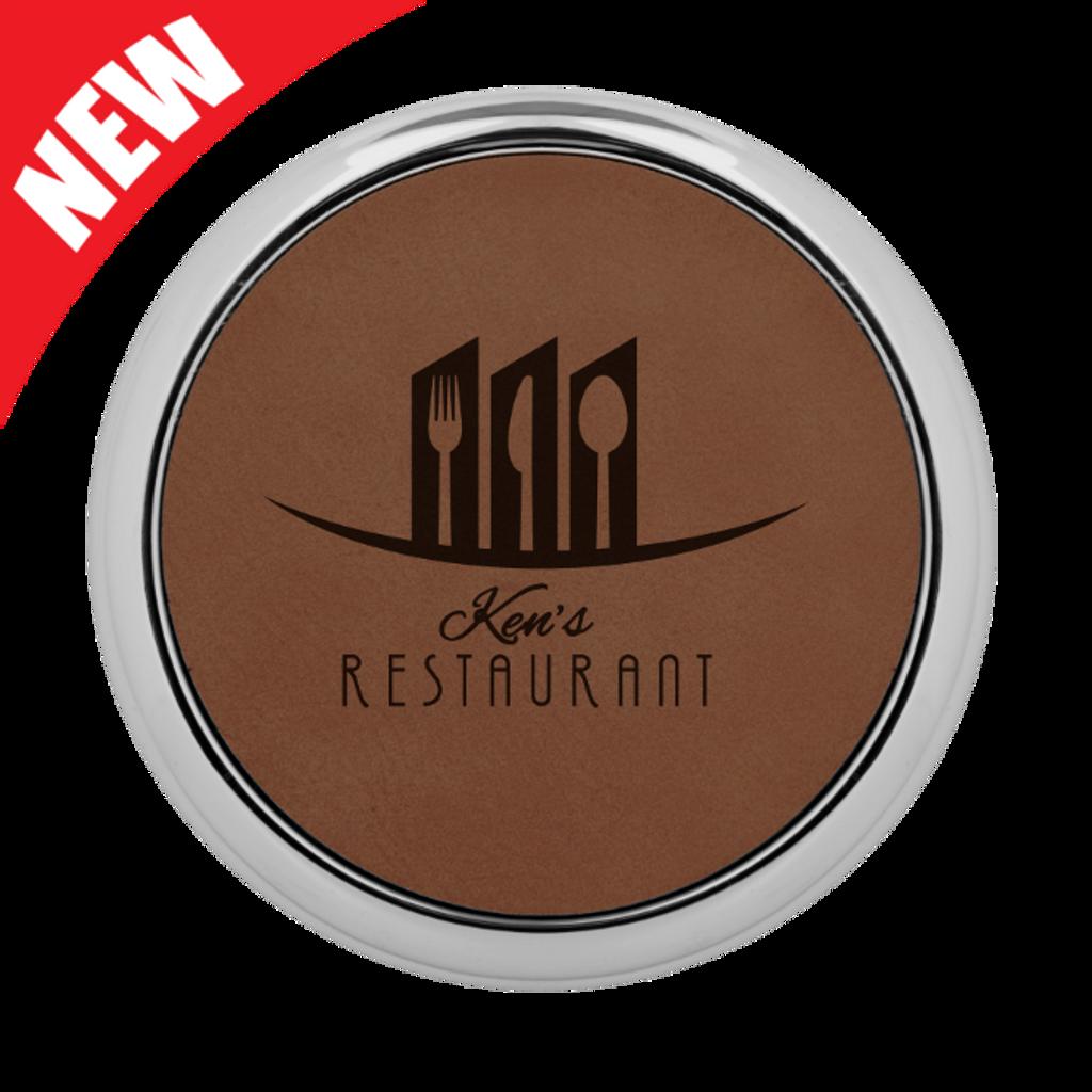 Round Dark Brown Leatherette Coaster with Silver Edge
