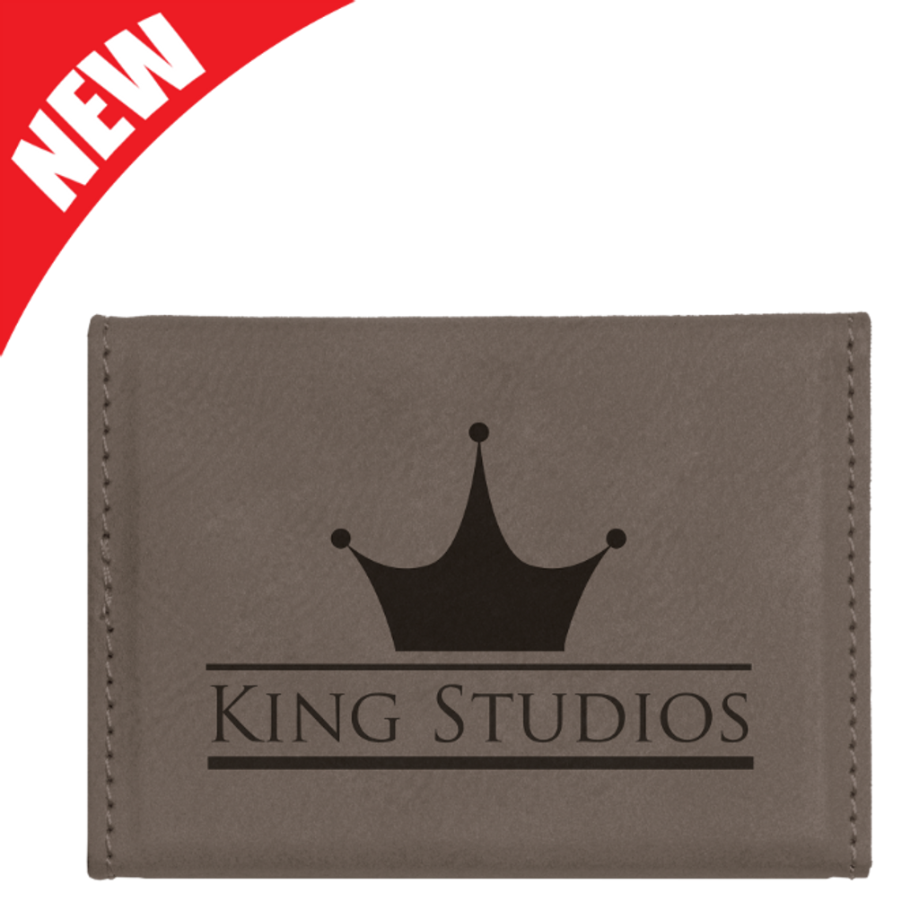 Gray Leatherette Hard Business Card Holder