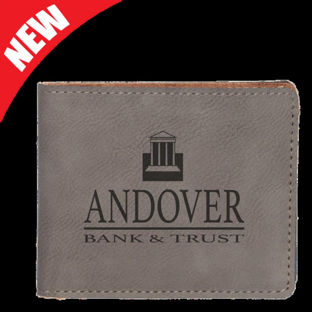 Gray Leatherette Bifold Wallet