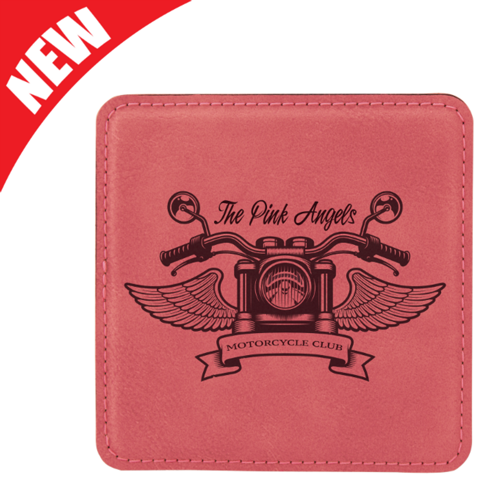 Square Pink Leatherette Coaster