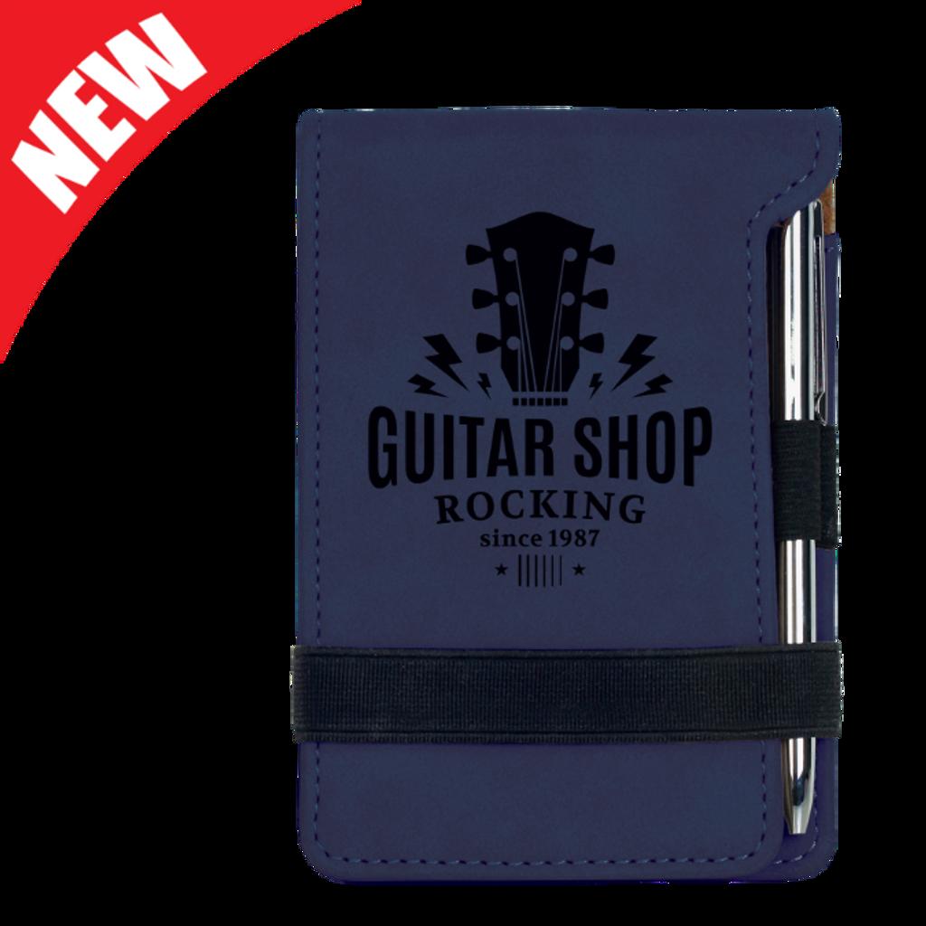Blue Leatherette Mini Notepad & Pen