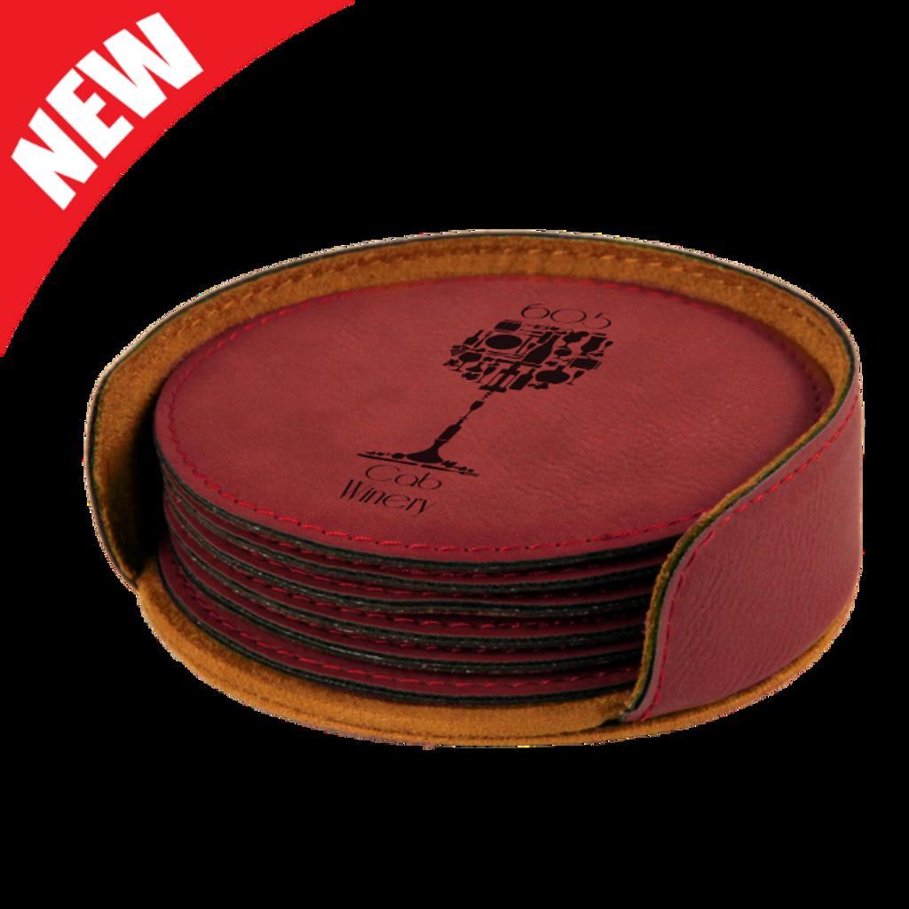 Round Rose Leatherette 6-Coaster Set