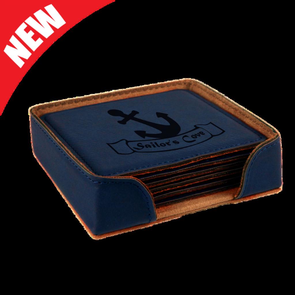 Square Blue Leatherette 6-Coaster Set
