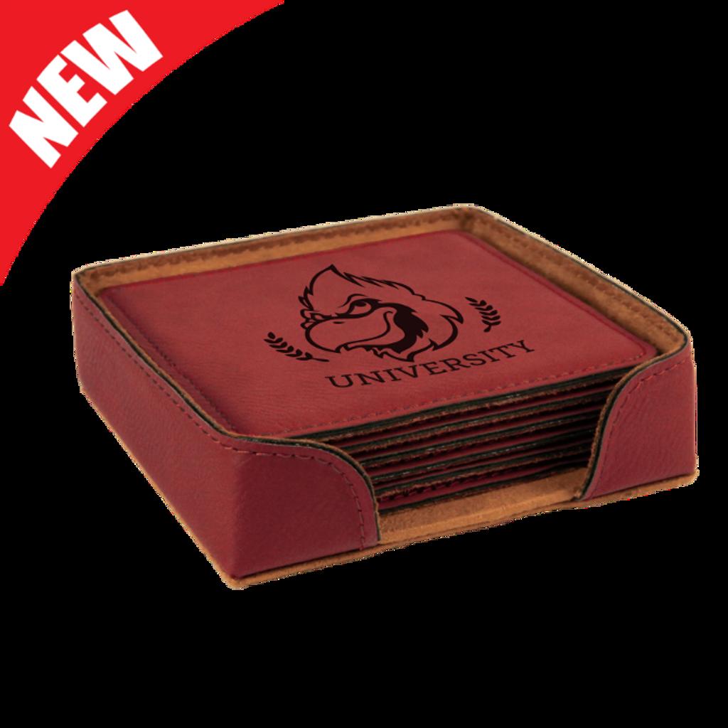 Square Rose Leatherette 6-Coaster Set