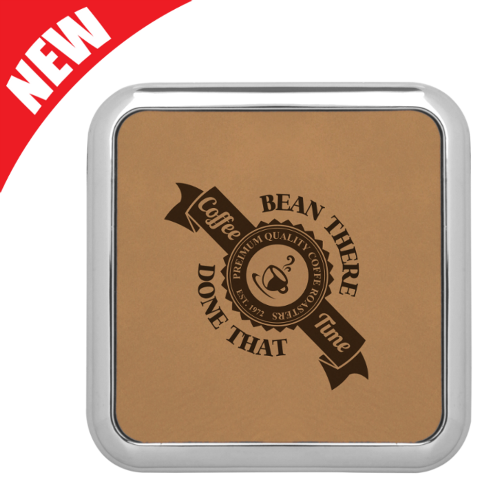 Square Light Brown Leatherette Coaster with Silver Edge