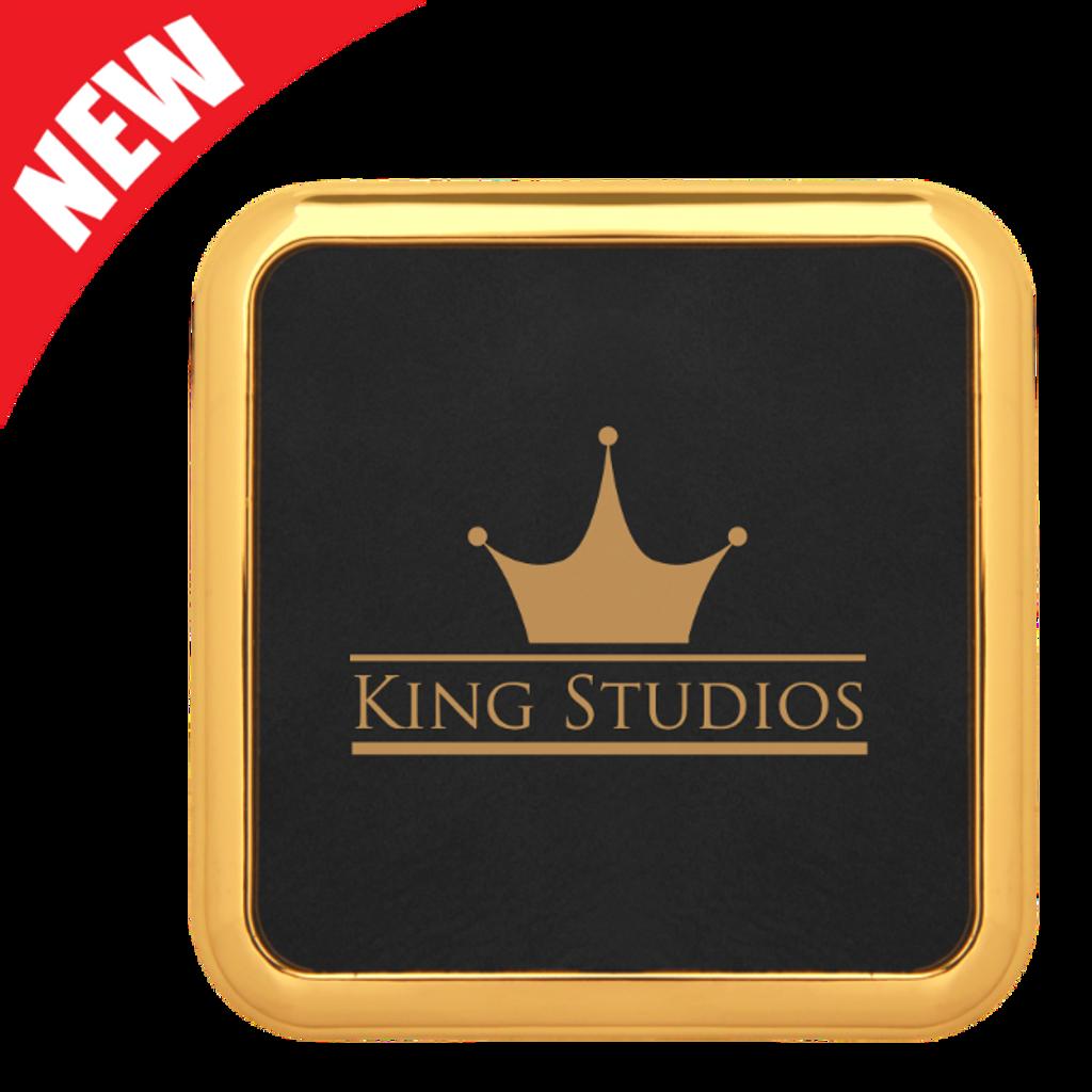 Square Black Leatherette Coaster with Gold Edge